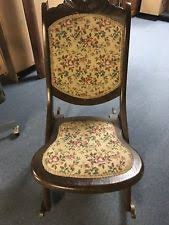 New ListingVintage Wooden Folding Rocker Rocking Chair Tapestry Victorian