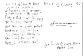 The Killing Kompany Murder Mystery Dinner Theatre Shows Letters