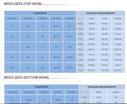 Gap Size Chart Mens Size Chart Guide By Different Apparel Brands For Men And