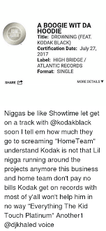 A BOOGIE WIT DA HOODIE Title DROWNING FEAT KODAK BLACK Certification Inspiration A Boogie Wit Da Hoodie Quotes
