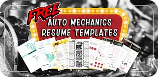 Resume For Auto Mechanic Gorgeous 48 Free Resume Templates For Auto Mechanics To Stand Out From The Crowd