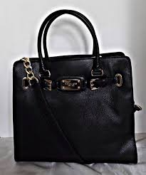 black leather purse michael kors hamilton handbag tote bag goodtreasures123