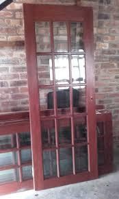15 pane bevelled glass internal hard wood doors
