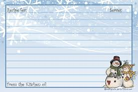 Snowman Recipe Cards - Free Printable 4 X 6 Inch Holiday Recipe Cards