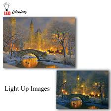 Lighted Central Park Canvas Wall Art Us 14 99 25 Off Led Canvas Printing Winter Night In Central Park Christmas Illuminated Canvas Paintings Light Up Posters And Print Holiday Gift In