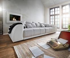 Big Sofa Violetta 310x135 Creme Hellgrau Mit 12 Kiss