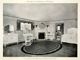 1917 Print Bedroom Furniture Queen Anne Style Bed Dresser Interior Design  GF5