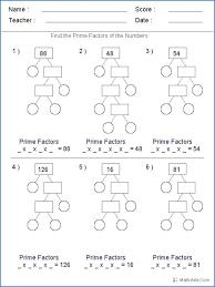 Prime 5 Math Prime Factorization Worksheets Grade 5 Factoring ...