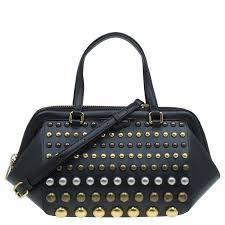 brown leather studded thunderdome satchel nextprev prevnext