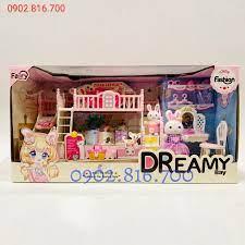 Hộp đồ chơi cho bé gái ngôi nhà búp bê - ngôi nhà của thỏ - phòng ngủ - bàn  trang điểm | Ngôi nhà búp bê