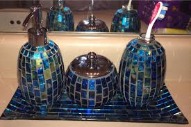 Superb Blue Turquoise And Green Mosaic Bathroom Accessories Set Found At Steinmart