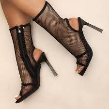 Iva Black Mesh Peep Toe Ankle Boots