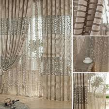 Net Curtains For Living Room 2pcs Jacquard Flower Pattern Net Curtains For Window Elegant