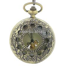 engraved pocket watches for men promotion shop for promotional h208 bronze tone men s skeleton hollow case engraved hand wind up mechanical pocket watch w chain new nice gift
