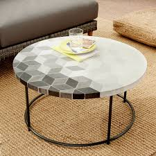 Round outdoor coffee table Outside Mosaic Tiled Outdoor Coffee Table Isometric Concreteantique Bronze West Elm West Elm Mosaic Tiled Outdoor Coffee Table Isometric Concreteantique