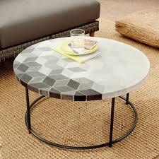mosaic tiled outdoor coffee table isometric concrete antique bronze west elm