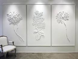 plaster wall art fleurs blanches triptych plaster wall decor plaques uk