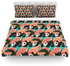 tobe fonseca sushi panda orange blue duvet cover cotton twin eclectic