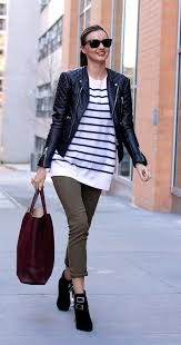 thebudget blogger jacket shoes bag sunglasses stripes striped top long sleeves leather jacket red bag burdy