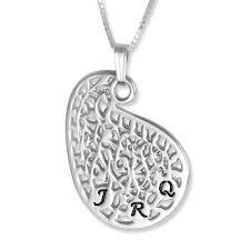 silver initial pendant vintage paisley three letters
