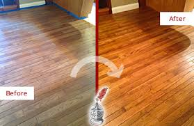 before and after picture of a chicago wood sandless refinishing service on a dull floor to