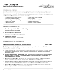 Cover Letter Marketing Student Resume Graduate Objective Section Of