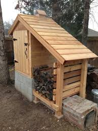 a wooden storage shed setting on bricks