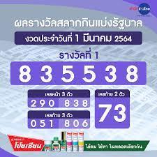 ผลรางวัลสลากกินแบ่งรัฐบาล งวดวันที่ 1 มีนาคม 2564 - สำนักข่าวไทย อสมท