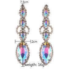 long ppg pgg gold color glass crystal wedding long fl shape chandelier earrings for women brides bridesmaid long earrings chandelier earrings earrings