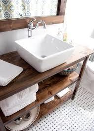 open shelf vanity. Unique Open Warm Wood Stained Bathroom Vanity With Two Open Shelves In Open Shelf Vanity S