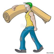 carpet roll vector. carpet worker, labourer - moving a roll of vector,icon vector