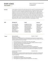 Retail Resume Description Retail Manager Cv Template Resume Examples Job Description