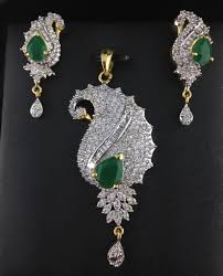 american diamond pendant set with emeralds indian kundan ic and gold jewelry in atlanta and