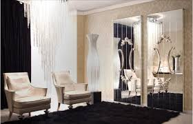 luxury wall decorative mirror for luxurious wall decor interior including expensive hanging glass lamp and comfy black rug