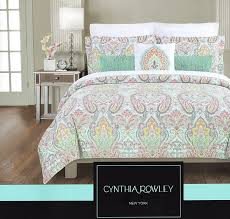 com cynthia rowley duvet cover set large fl paisley medallion turquoise pink navy c green king home kitchen