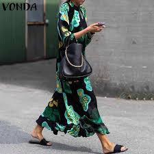 2019 Fashion VONDA <b>Summer Dress</b> Vintage Long <b>Maxi Dress</b> ...