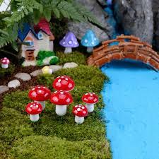 fairy garden figurines 10pcs mini mushroom terrarium figurines fairy garden miniatures