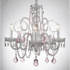 pink chandelier lighting. Empress 5-Light Crystal Chandelier With Pink Pendant Lighting G