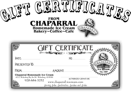 gift certificates chaparral homemade ice cream picture