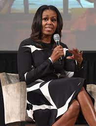 Michelle Obama's Black and White Circle Dress   POPSUGAR Fashion