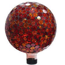10 inch mosaic gazing ball red yellow