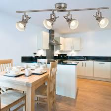 spot lighting for kitchens. Focus 4 Light Satin Silver Industrial Split Ceiling Spot Bar Lighting For Kitchens K