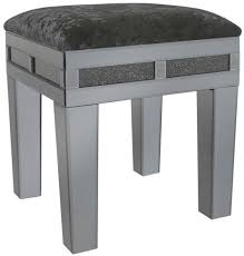 crystal smoked glass mirrored dressing table stool with padded seat