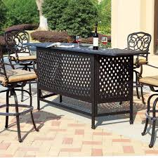 darlee florence 5 piece cast aluminum patio party bar set with swivel bar stools mocha ultimate patio