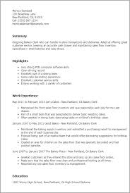 Bakery Clerk Job Description For Resume