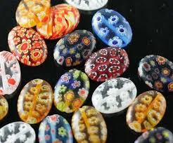 OMH <b>wholesale 100pcs mixed color</b> 10mm Flat shape Millefiori ...