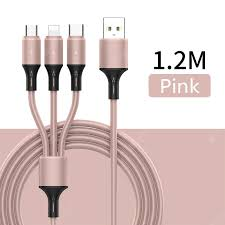 <b>New 3</b>-in-<b>1 Liquid Silicone</b> Data Cable Charging Cable 1.2M ...