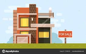 Illustration Board House Design Vector Color Illustration Of House With Board For Sale On