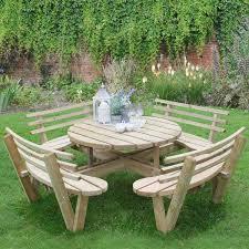 circular timber picnic table with seat backs