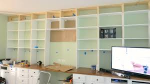 install wall to wall built in bookcases over a desk home is